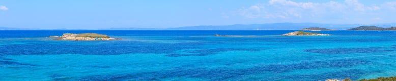 Aegean sea coast Chalkidiki, Greece. Aegean sea coast landscape, view near Karidi beach Chalkidiki, Greece. People are unrecognizable. Four shots stitch Stock Image