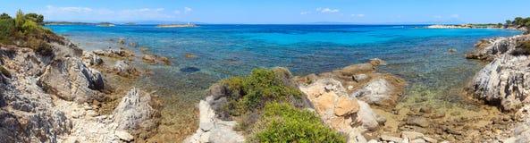 Aegean sea coast Chalkidiki, Greece. Aegean sea coast landscape, view near Karidi beach Chalkidiki, Greece. People are unrecognizable. Three shots stitch Stock Photography