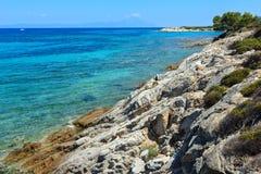 Aegean sea coast Chalkidiki, Greece. Aegean sea coast landscape, view near Karidi beach Chalkidiki, Greece. Peoples unrecognizable Royalty Free Stock Photo
