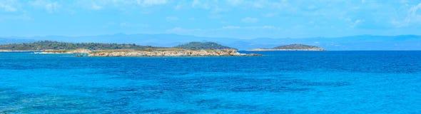 Aegean sea coast Chalkidiki, Greece. Aegean sea coast landscape, view near Karidi beach Chalkidiki, Greece. Three shots stitch high-resolution panorama Royalty Free Stock Photo