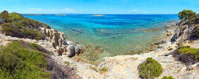 Aegean sea coast Chalkidiki, Greece. Aegean sea coast landscape, view near Karidi beach Chalkidiki, Greece. Three shots stitch panorama Royalty Free Stock Photo