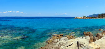 Aegean sea coast Chalkidiki, Greece. Aegean sea coast landscape, view near Karidi beach Chalkidiki, Greece. Two shots stitch panorama Royalty Free Stock Image