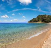 Aegean sea coast Chalkidiki, Greece. Aegean sea coast landscape, view from sandy beach Chalkidiki, Greece. Two shots stitch high resolution image Royalty Free Stock Photos