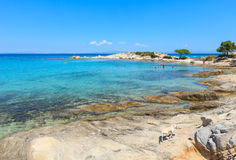 Aegean sea coast (Chalkidiki, Greece). Vourvourou, Greece, July 22, 2016: Aegean sea coast landscape, Karidi beach (Chalkidiki, Greece Stock Photography