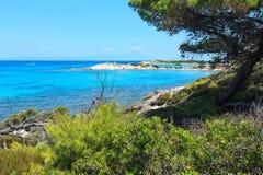 Aegean sea coast Chalkidiki, Greece. Vourvourou, Greece, July 22, 2016: Aegean sea coast landscape, view near Karidi beach Chalkidiki, Greece Stock Images