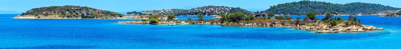 Aegean Sea coast, Greece. Beautiful summer Aegean Sea coast landscape, Sithonia, Halkidiki, Greece. Eight shots stitch high-resolution panorama Stock Photo