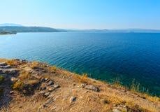 Aegean Sea coast Halkidiki, Greece. Summer Aegean Sea coast landscape Ormos Panagias, Halkidiki, Greece Royalty Free Stock Photos