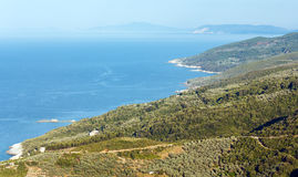 Aegean Sea coastline (near Mylopotamos beach, Greece). Stock Images