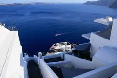 Aegean sea cycladic volcanic island of Santorini. Stock Image