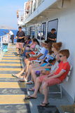 Aegean sea ferry. People travelling at  Aegean sea with ferry, summer,2014, Turkey Royalty Free Stock Image