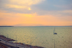 Aegean Sea in the Konak area of Izmir Turkey the view during sun Stock Images