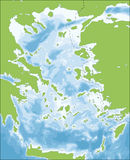 Aegean Sea map. The Aegean Sea is an elongated embayment of the Mediterranean Sea located between the Greek and Anatolian peninsulas, i.e., between the mainlands vector illustration