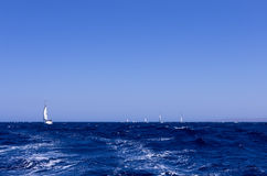 The Aegean sea and sailing yachts, Greece Royalty Free Stock Image