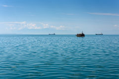 Aegean sea. With ships and tourist boat Royalty Free Stock Photos