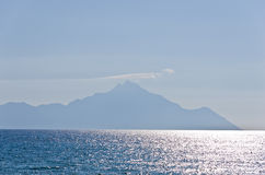 Aegean sea and a silhouette of the holy mountains Athos Stock Photography