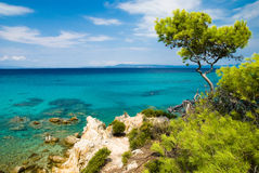 Aegean sea in sithonia Stock Photos