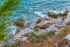 Aegean Sea, Skiathos, Greece. landscape. Azure waters of the aegean sea on the island of Skiathos, Greece. Rocky shores stock photography