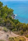 Aegean Sea, Skiathos, Greece. landscape. Azure waters of the aegean sea on the island of Skiathos, Greece. Rocky shores stock image