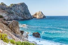 Aegean Sea, Skiathos, Greece. landscape. Azure waters of the aegean sea on the island of Skiathos, Greece stock image
