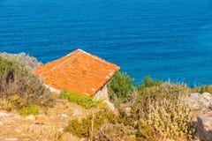 Aegean Sea, Skiathos, Greece. landscape. Azure waters of the aegean sea on the island of Skiathos, Greece. Rocky shores stock photos