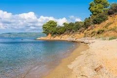 Aegean Sea, Skiathos, Greece. landscape. Azure waters of the aegean sea on the island of Skiathos, Greece. Rocky shores stock images