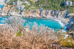 Aegean Sea, Skiathos, Greece. landscape. Azure waters of the aegean sea on the island of Skiathos, Greece. Rocky shores royalty free stock photos