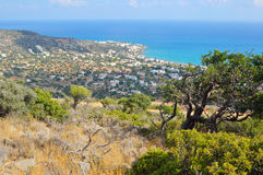 Aegean Sea and Stalida town. Stock Image