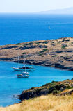 Aegean sea in Turkey. Boats and yachts in Aegean sea in Turkey royalty free stock photos