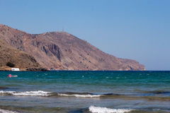 The Aegean Sea. View from the beach of Georgioupolis royalty free stock photography