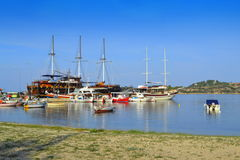 Aegean sea village port Greece Stock Images