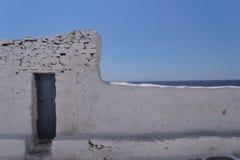 Aegean sea wall. Wall facing the aegean sea on the island of Mykonos Stock Images