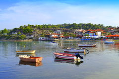 Aegean seaside village view Royalty Free Stock Photos