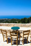 Aegean View from Avgonima. Aegean sea view from a cafe at the medieval village Avgonima in Chios,Greece royalty free stock photography