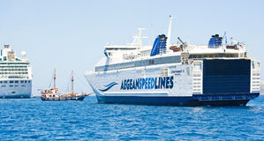 Aegeanspeed lines at anchor. Stock Photos