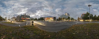Aegi Plaza in Hannover. 360 Degree Panorama. Royalty Free Stock Photography