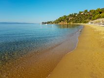 Beach in skiathos. Aegia paraschievi beach in skiathos greece. September 2018 royalty free stock image
