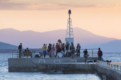 aegina考古学希腊海岛kolona站点 免版税库存图片