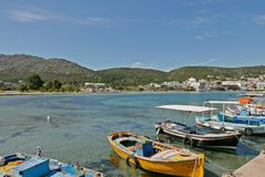 Aegina island. Picturesque greek port aegina island Stock Photography