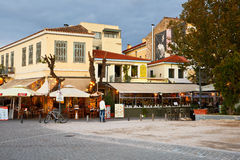 Aegina island. Restaurants and coffee shops near ancient agora and Thissio station in Athens Royalty Free Stock Photos