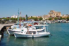 Aegina Town harbour in Greece Stock Photo