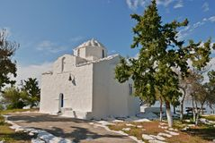 Aegina white church. White orthodox Greek church in Aegina island Stock Photography