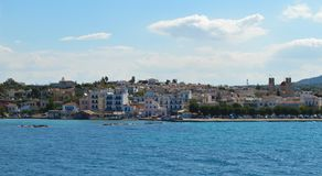 Aeginahaven in Aegina-eiland, Griekenland op 19 Juni, 2017 Royalty-vrije Stock Afbeelding