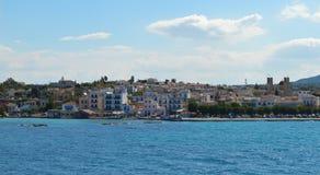 Aeginahaven in Aegina-eiland, Griekenland op 19 Juni, 2017 Stock Afbeeldingen
