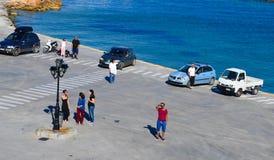 Aeginahaven in Aegina-eiland, Griekenland op 19 Juni, 2017 Stock Foto