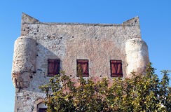 在Aegina海岛的Markellos塔在希腊 库存图片