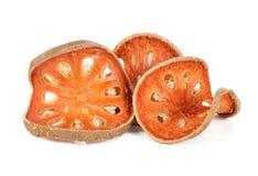 Aegle Marmelos Trockene bael Frucht auf weißem Hintergrund Lizenzfreie Stockfotografie