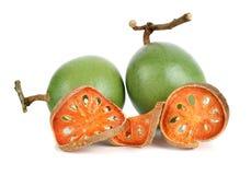 Aegle-marmelos und trockene bael Frucht Lizenzfreies Stockbild