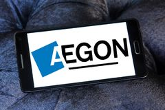 Aegon financial services company logo. Logo of Aegon financial services company on samsung mobile . Aegon N.V. is a multinational life insurance, pensions and Royalty Free Stock Images