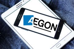 Aegon financial services company logo. Logo of Aegon financial services company on samsung mobile . Aegon N.V. is a multinational life insurance, pensions and Royalty Free Stock Photo