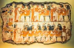 Aegyptian freskomålning på British Museum i London (hdr) arkivfoton